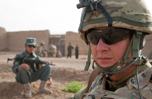 British soldiers and Afghan police