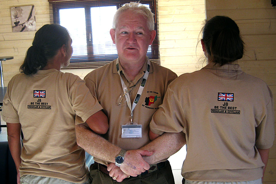Alan Lawson with two J8 (Finance and Human Resources) personnel at Camp Bastion