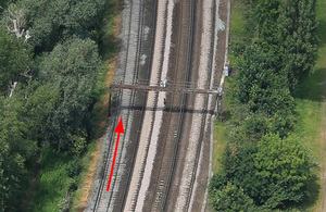 The site of the accident, showing the direction of travel of the train (image courtesy of Network Rail Infrastructure Limited)