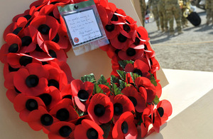 A wreath of poppies laid during the Armistice Day service at Camp Bastion in Afghanistan