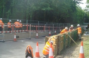Works being done in Marlow to raise Gossmore Road