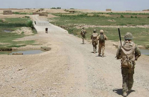 Members of the Scots Guards on patrol in Helmand