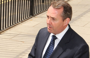 Dr Liam Fox outside the Ministry of Defence Main Building in London