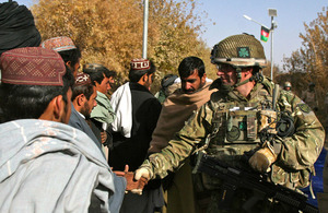 Lieutenant Colonel Colin Weir, Commanding Officer of 1st Battalion The Royal Irish Regiment, meets locals from Sayedabad ahead of a village shura (stock image)