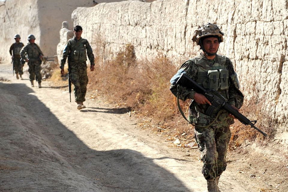 Members of the Afghan National Army on patrol in northern Nad 'Ali (stock image)