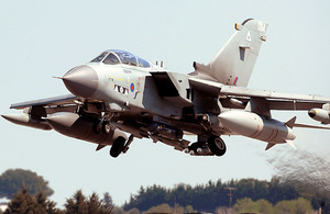 An RAF Tornado GR4 aircraft takes off