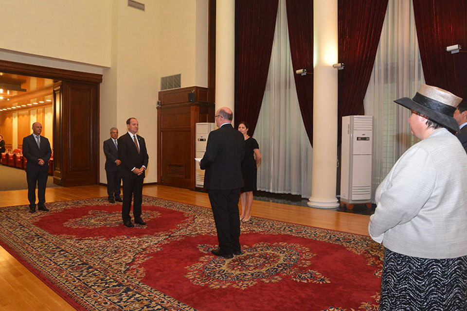 HM Ambassador, Duncan Norman, presents his credentials