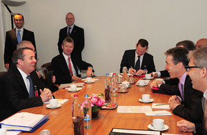 Meeting attended by UK Defence Secretary, Dr Liam Fox, and NATO Secretary General, Anders Fogh Rasmussen