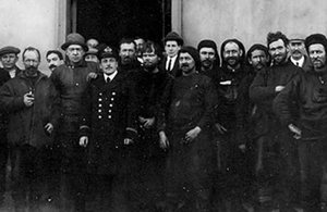 Chilean Pilot Luis Pardo, Sir Ernest Shackleton and the Endurance's crew after being rescued.