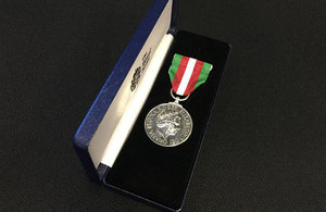 Merchant Navy medal for meritorious service.