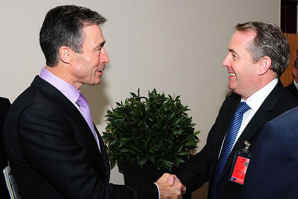 Dr Liam Fox (right) meets NATO Secretary General, Anders Fogh Rasmussen, in Brussels