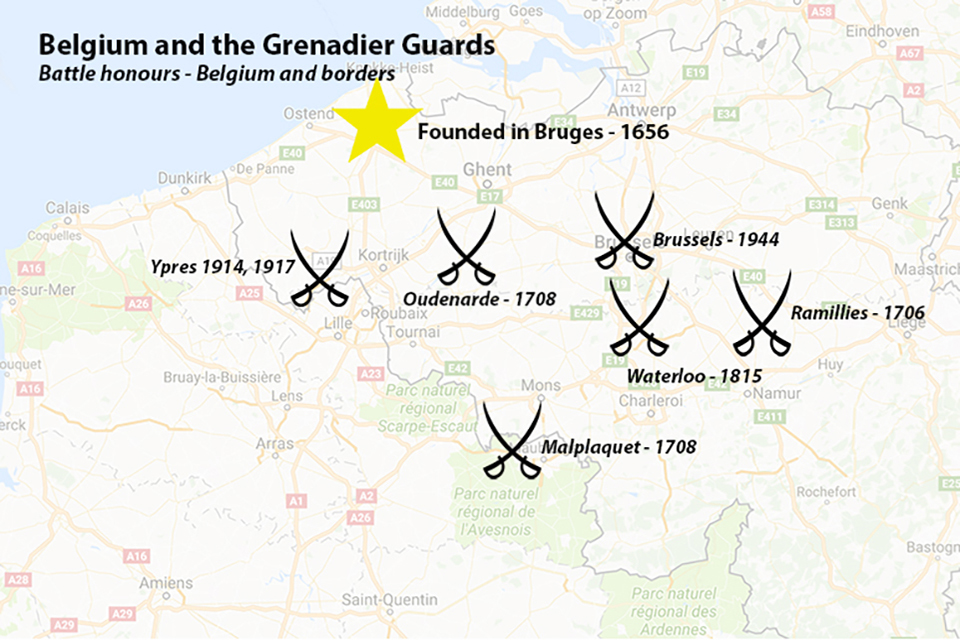 A map of some of the Grenadier Guards' battle honours in Belguim