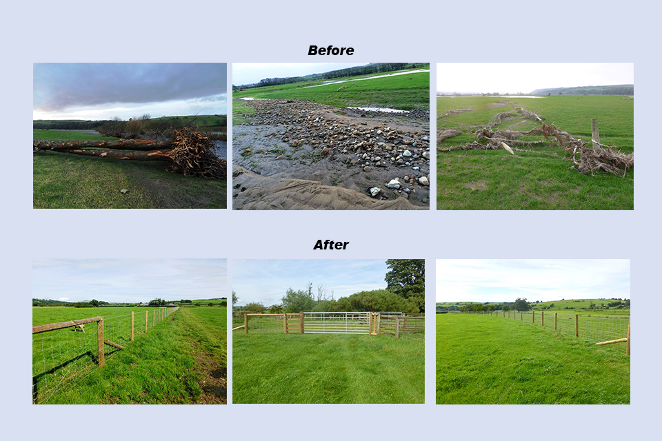 Image of farm land before and after flood recovery