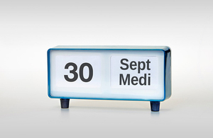 Calendar showing 30 September in English and Welsh