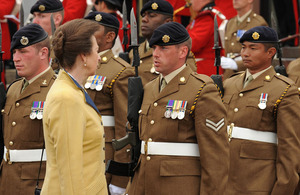Her Royal Highness The Princess Royal inspects the troops