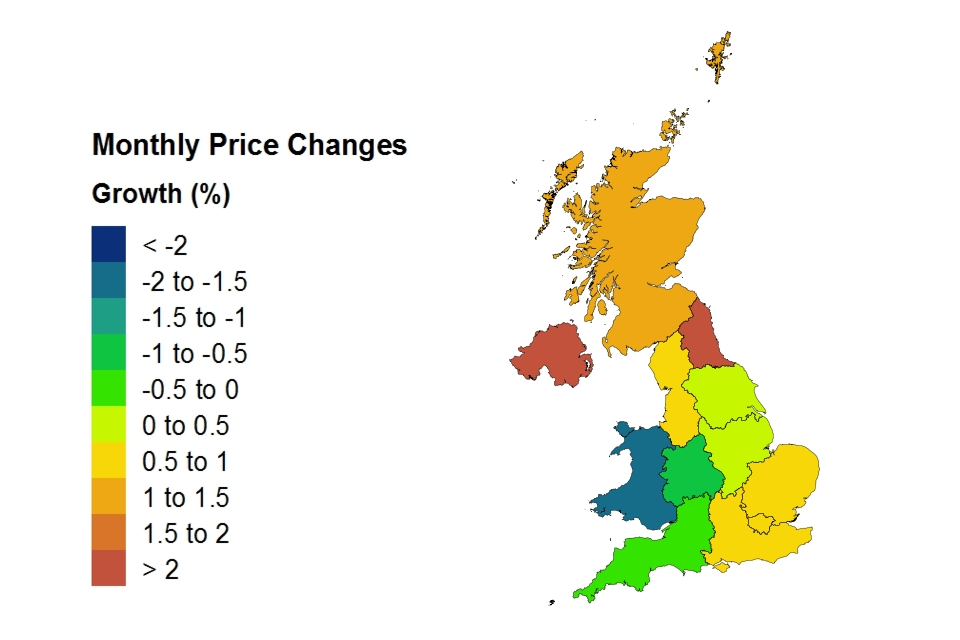 Monthly price changes by country and government office region