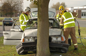 The Fire and Rescue Service take part in a crashed vehicle extraction exercise