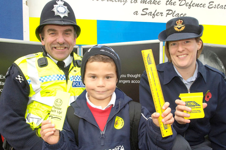 PC Colin Everett helps get the road safety message across at RAF Wittering