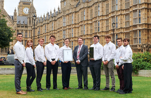 John Howell, MP for Henley with apprentices from the UK Atomic Energy Authority (UKAEA)