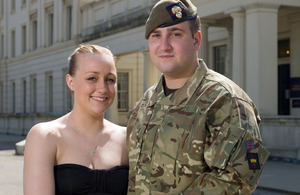 Guardsman Jordan Pearson with his wife, Loren