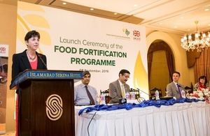 Joanna Reid, the head of DFID Pakistan, speaking at the launch of Food Fortification Programme