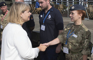 Minister for Defence Procurement Harriett Baldwin MP with Reservists at todays DVD event.