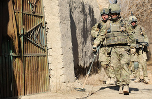 Soldiers from 2nd Battalion The Parachute Regiment search for IEDs