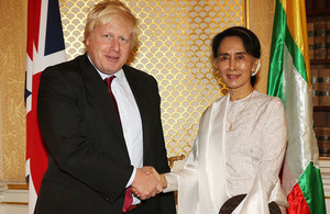 Foreign Secretary Boris Johnson and Burmese leader and State Counsellor Aung San Suu Kyi
