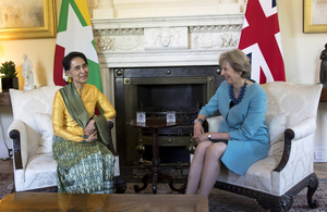 Prime Minister Theresa May with Aung San Suu Kyi in 10 Downing Street.
