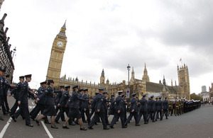 Service personnel marching to the Palace of Westminster
