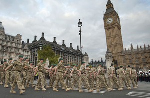Troops of 3 Commando Brigade Royal Marines parade to Westminster