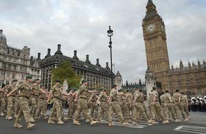Troops of 3 Commando Brigade Royal Marines parade to Westminster