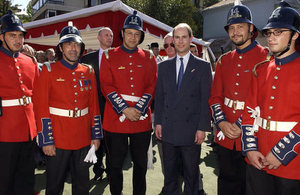 HRH The Earl of Wessex with volunteers of the 14th Fire Brigade when he visited Chile in March 2005.