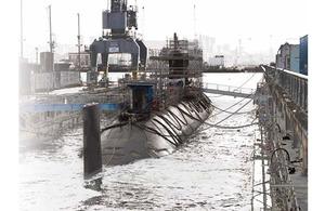 HMS Trenchant undergoing maintenance
