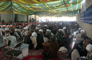 Community elders at the Nad 'Ali District Governor's compound
