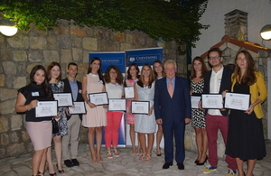 This year's Chevening scholars with Ambassador Whitting
