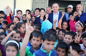 Priti Patel visits Syrian refugee students in Lebanon. PIcture: FCO