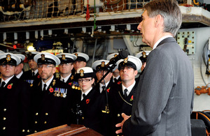 Defence Secretary Philip Hammond addresses HMS Liverpool's ship's company