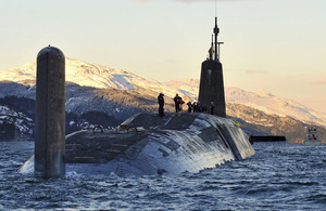 HMS Vanguard arriving back at HM Naval Base Clyde