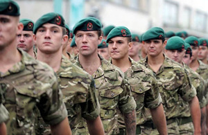 Royal Marines from 3 Commando Brigade parade through Plymouth
