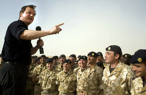 Prime Minister David Cameron speaking to British troops in Afghanistan
