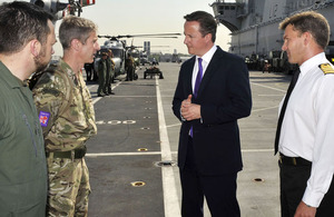 The Prime Minister meets some of the Alert Helicopter Crews onboard HMS Ocean