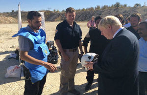 Foreign Secretary, Boris Johnson, visits the Syrian Civil Defence (White Helmets)