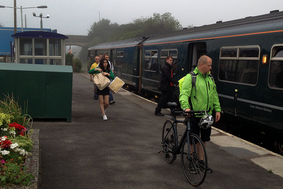 Cyclist at Melksham station.