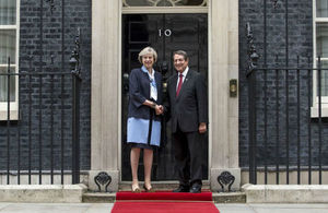 Prime Minister Theresa May standing with President Anastasiades of Cyprus outside the front door of 10 Downing Street
