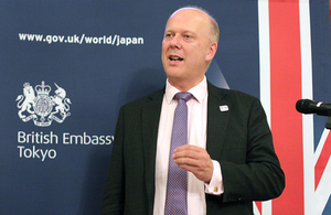 Secretary of State for Transport Chris Grayling speaking at the British Embassy Tokyo