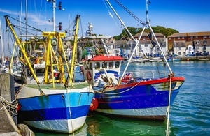 Commercial Fishing boats in Weymouth harbour, UK