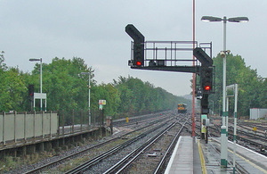 Library image of four-aspect junction signal arrangement