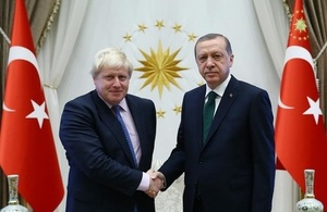 Foreign Secretary Boris Johnson and President Recep Tayyip Erdoğan