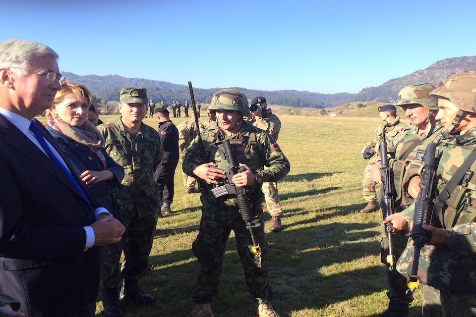 Michael Fallon meets Albanian armed forces personnel at Biza.